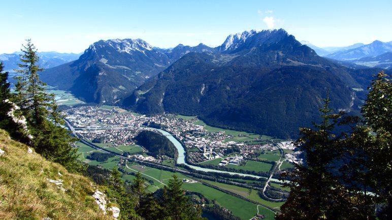 Kufstein, der Inn und der Wilde Kaiser direkt vor uns. Ein super Blick vom Pendling aus