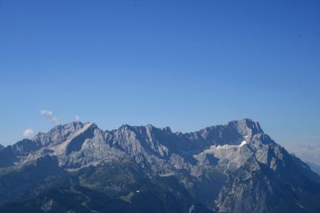 Blick zum Wetterstein mit Zugspitze, Alpspitz und Waxensteinen