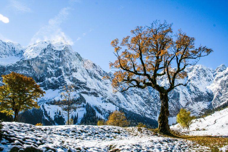 Herbstliche Ahornbäume und erster Schnee. Für Fotofreunde ist der große Ahornboden ein Paradies