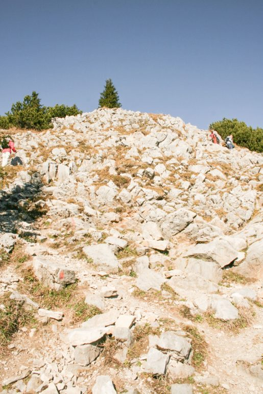 Über Felsen klettert man auf den Vorgipfel des Wallbergs