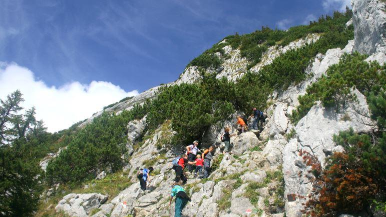 Der Einstieg zum Roßstein-Klettersteig