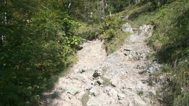 Schön felsig: Der Auf- und Abstiegsweg