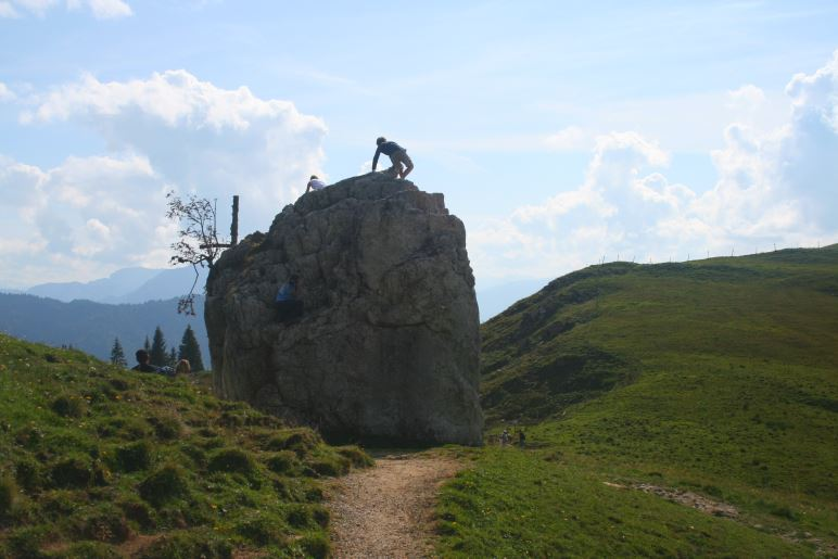 Der Kletterfelsen kurz vor dem Klettersteig