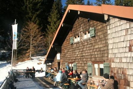 Terrasse der Lenggrieser Hütte