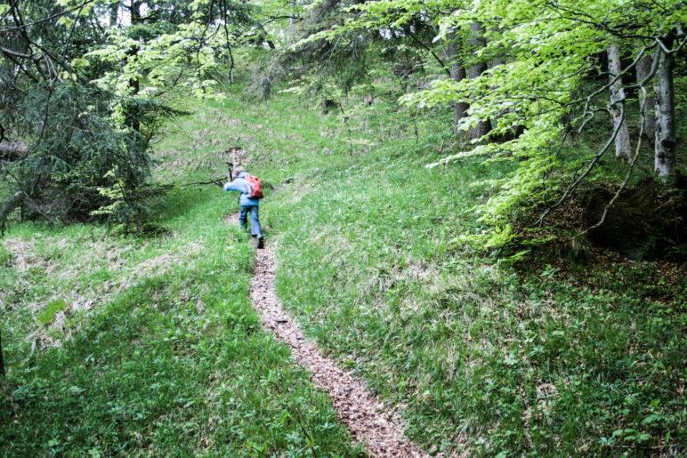 Auf dem schmalen Bergweg zwischen Burgrain und der Burg Werdenfels