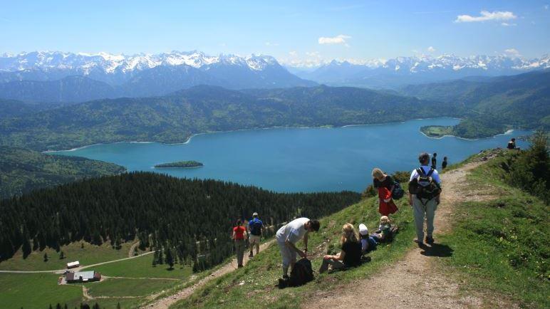 Der Walchensee und die Alpen, links unten liegt die Jocheralm