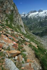 Über diese Bergflanke geht es in Richtung Hütte