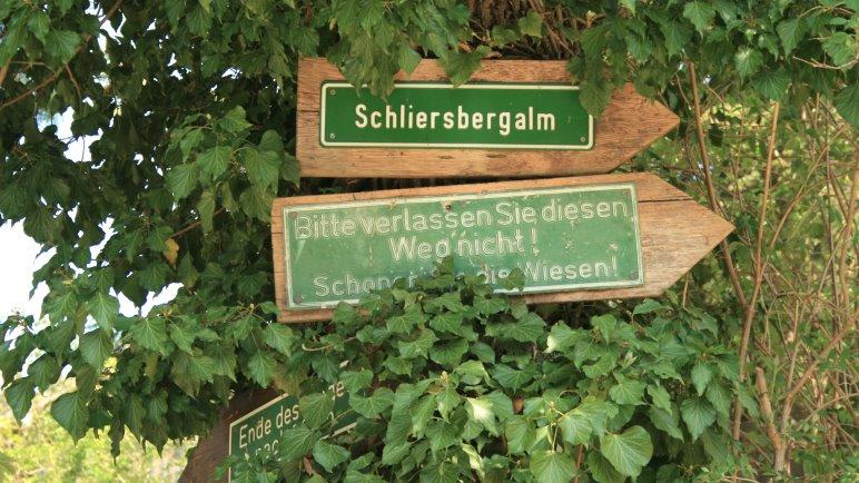 Wegweiser zur Schliersbergalm