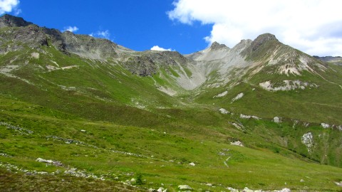 Die Almlandschaft und die Berge der Verwallgruppe oberhalb der Hütte