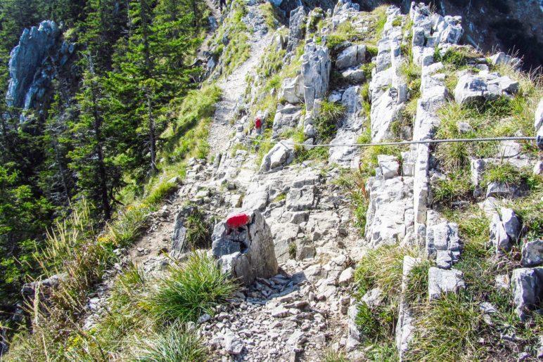 Schon etwas anspruchsvoller - Kletterstelle am Brecherspitz-Gratweg