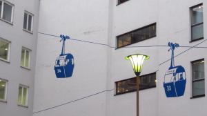 Die Schuster-Seilbahn, ganz nah am Marienplatz. Immer gut besucht, aber doch nie in Bewegung