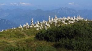 Die Steinmandl auf dem Weg zu Cima Pozzette