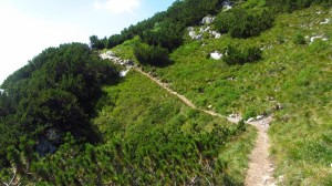 Ein schmaler Wanderweg auf der Ostseite, zum Hochtal hin