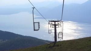 Der letzte Teil der Tour delle Cime: Mit dem Stehlift nach Prada, das immer noch deutlich über dem Gardasee liegt