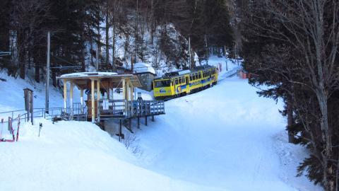Der Haltepunkt  Mitteralm der Wendelstein-Zahnradbahn