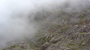 Nebel zieht über dem Steinernen Meer auf und wird schnell dichter