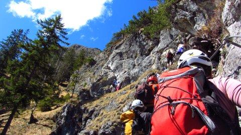 Eine Querung auf dem Grünstein-Klettersteig