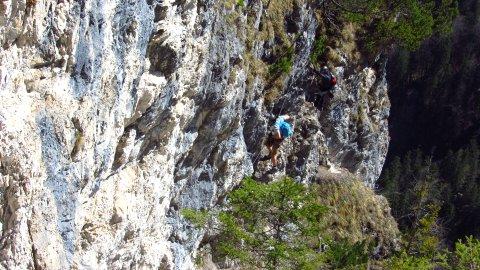 Im oberen Teil des Grünstein-Klettersteigs
