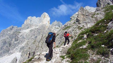 Aufstieg zum Steiglpass - dort überqueren wir den Gosaukamm