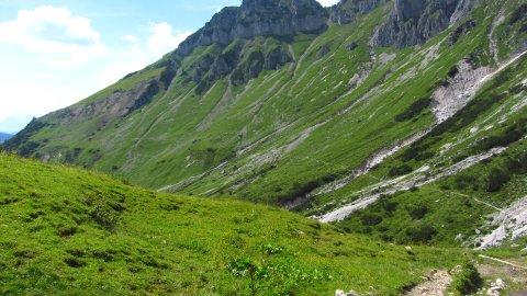 Der Austriaweg zur Hofpürglhütte im Rückblick