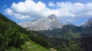 Blick zum Torstein, den wir auch von der Hofpürglhütte immer im Blick hatten. Die Hütte sieht man auch schon ganz klein