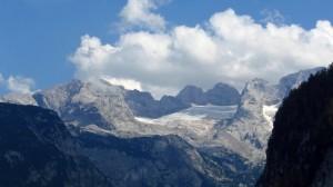 Der Gosaugletscher vom Aufstiegsweg zur Gablonzer Hütte aus gesehen