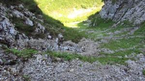 Der Stuhljoch-Steig von oben gesehen