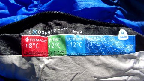 Auf einem Label am oberen Reißverschluss-Ende stehen die empfohlenen Temperaturangaben