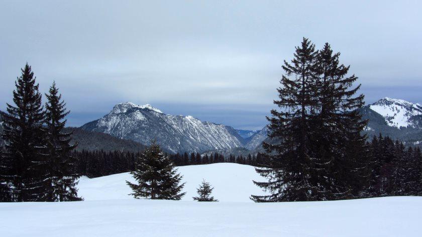 Schöner Ausblick auf die Berge, die der Hemmersuppenalm gegenüberliegen