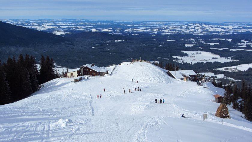 Super Fernblick vom Hörnle – links die Hörnlehütte, rechts die Bergstation der Hörnlebahn