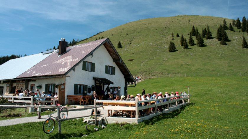 Die Jocheralm unterhalb des Jochberggipfels