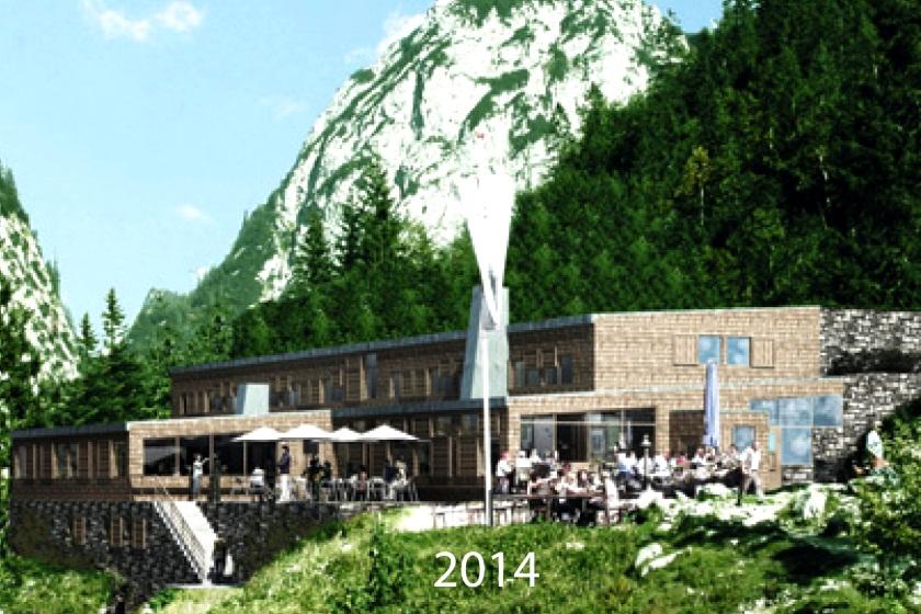 Der Entwurf für den Neubau der Höllentalangerhütte - Grafik: Deutscher Alpenverein