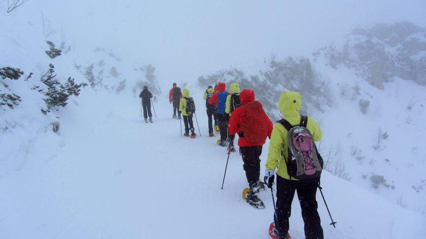 Die Gore-Tex Blogger Summit Gruppe beim Schneeschuh-Wandern