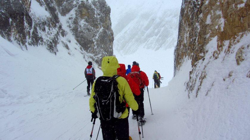 Felsdurchbruch auf der Schneeschuhwanderung, unterhalb vom Osterfelderkopf