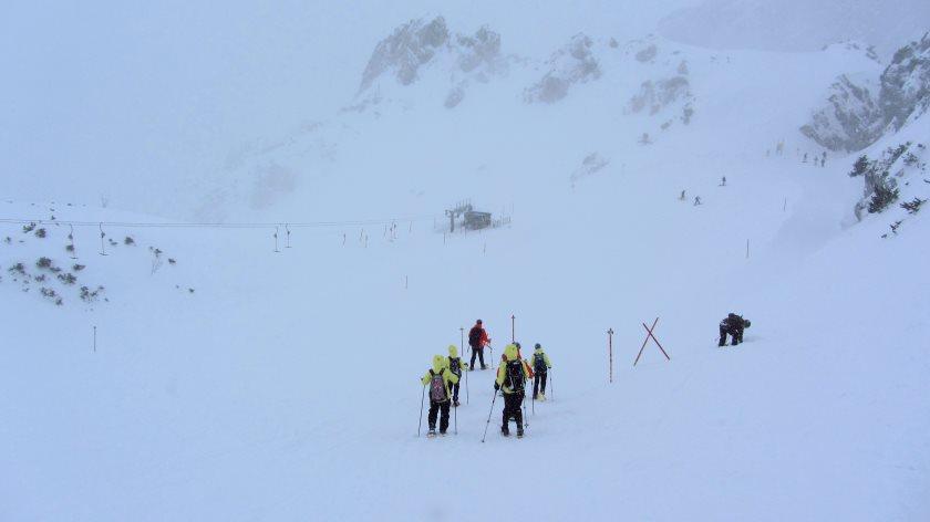 Schneeschuhwandern im Hochgebirge - leider hatten wir fast keine Sicht