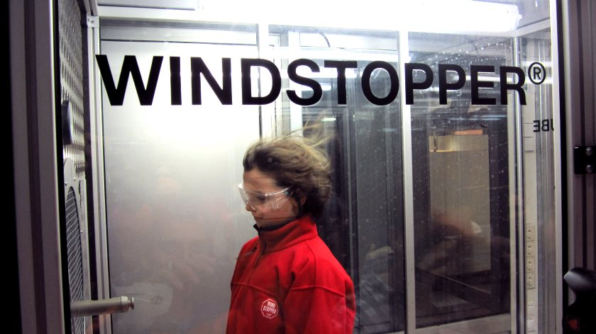 Windstopper-Test in der Windkammer