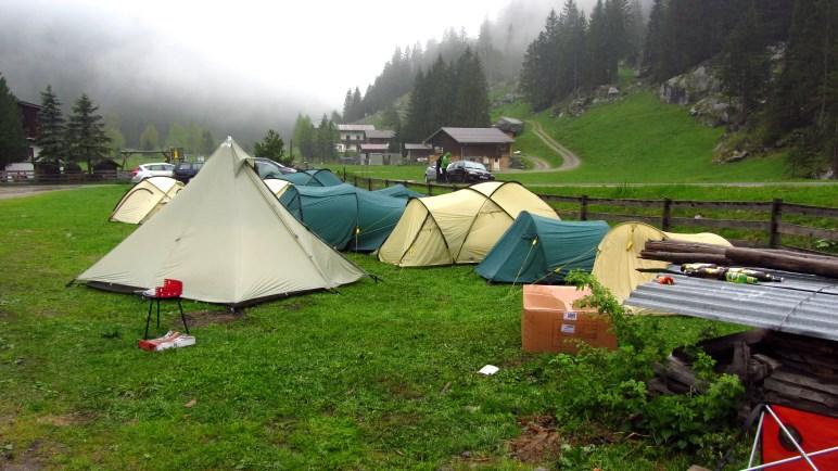 Unser Zeltlager - schon leicht durchnässt