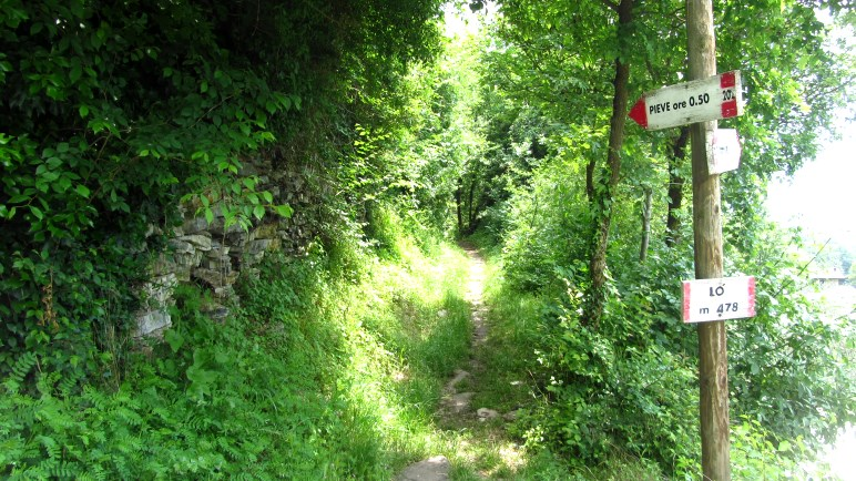 Die Abzweigung nach Pieve di Tremosine, kurz vor Pregasio