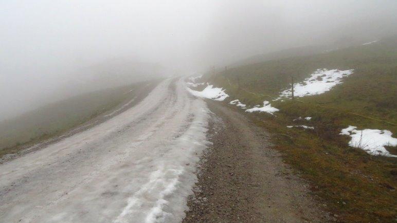 Höchststrafe: Langweilige Forststraße, vereist, Nebel, keine Aussicht