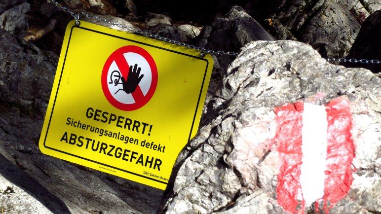 Aktuell gesperrt: Der Dr.-Julius-Mayr-Klettersteig auf den Brünnstein