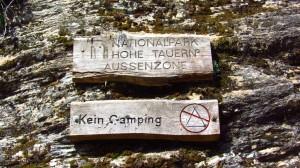 Im Nationalpark Hohe Tauern. Gut, dass wir einen Hüttenplatz haben, Camping wäre verboten