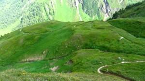 Der Blick von der Gleiwitzer Hütte auf den Aufstiegsweg