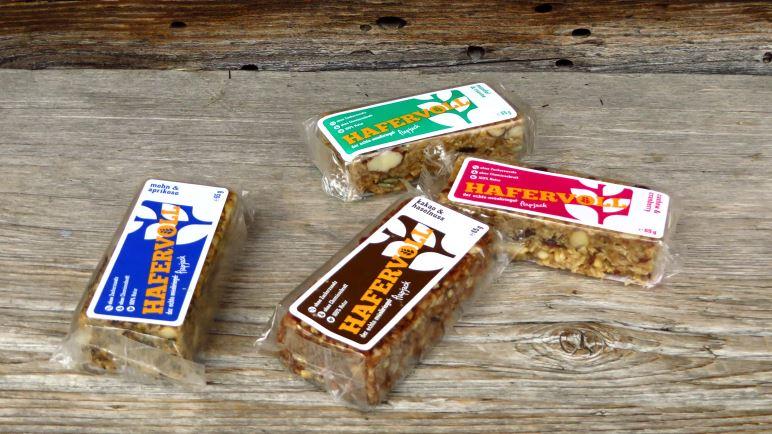 Hafervoll Flapjacks gibt es in vier verschiedenen Geschmacksrichtungen