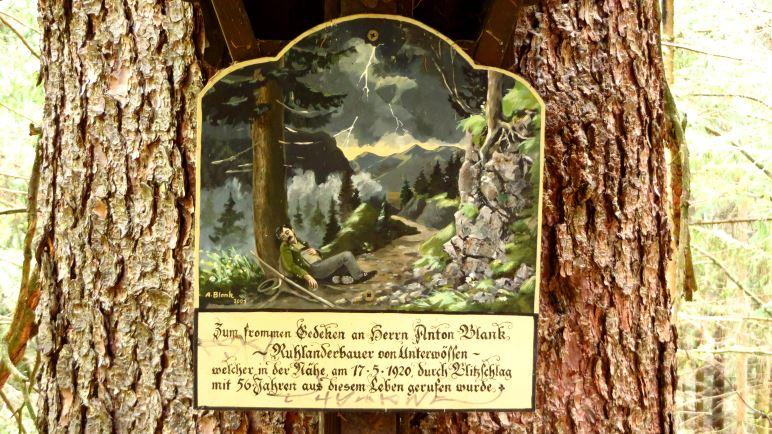 Gedenktafel für einen vom Blitzschlag Getroffenen