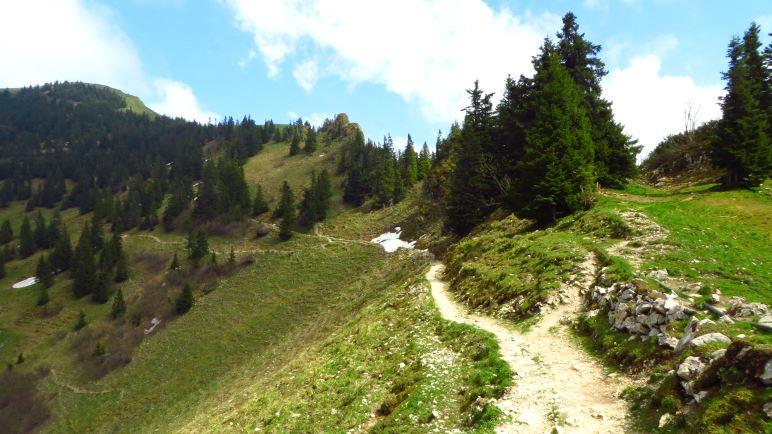 Auf dem Weg zum Gipfel liegen die letzten Schneeflecken. Und viel Matsch