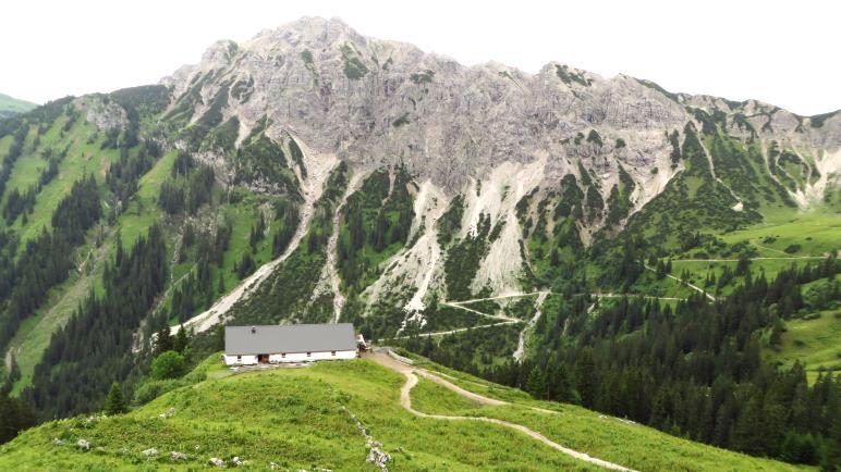 Die Wände des Litnisschrofen und die Strindenalpe