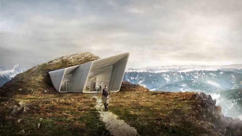 Der Eingang zum neuen Museum MMM Corones auf dem Gipfel des Kronplatz - Grafik: © Kronplatz - Zaha Hadid
