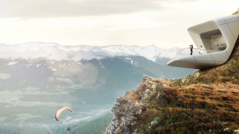 Panoramablick aus dem MMM Corones  - Grafik: © Kronplatz - Zaha Hadid