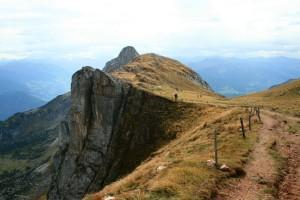 Am Schafsteigsattel unterhalb der Rofanspitze. Hier zweigt der Weg zum Sagzahn ab