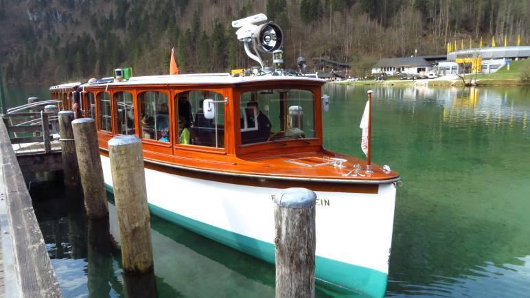 Unser Boot, mit dem wir nach St. Bartolomä fahren werden